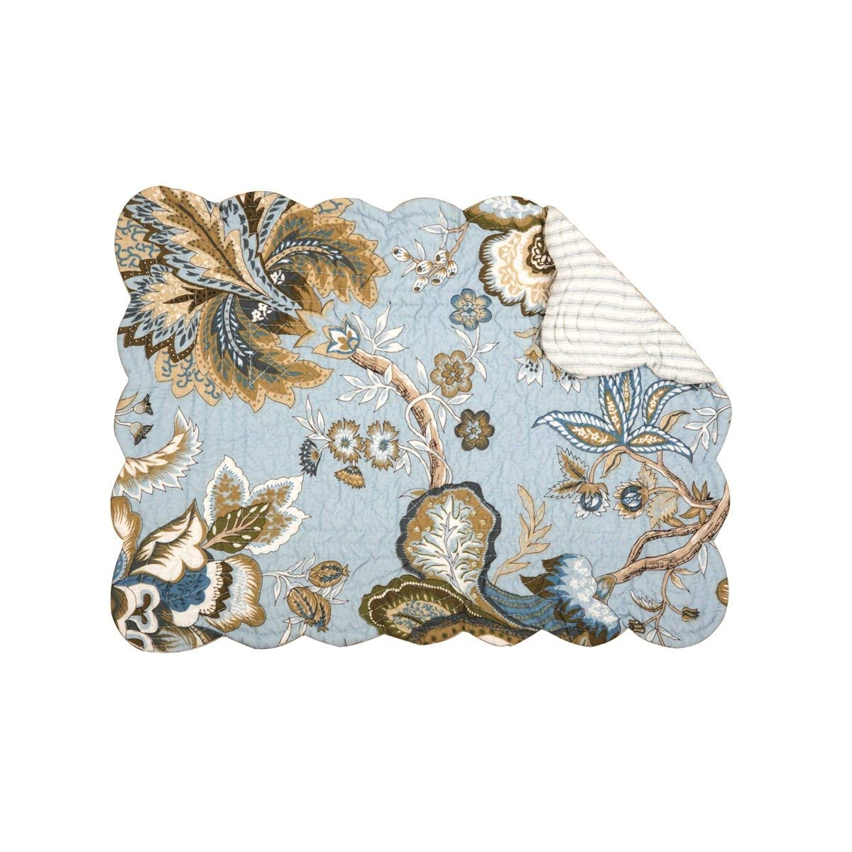 C&F Home Set of 4 Pcs, 13x19 Quilted Placemat, Bethany Blue