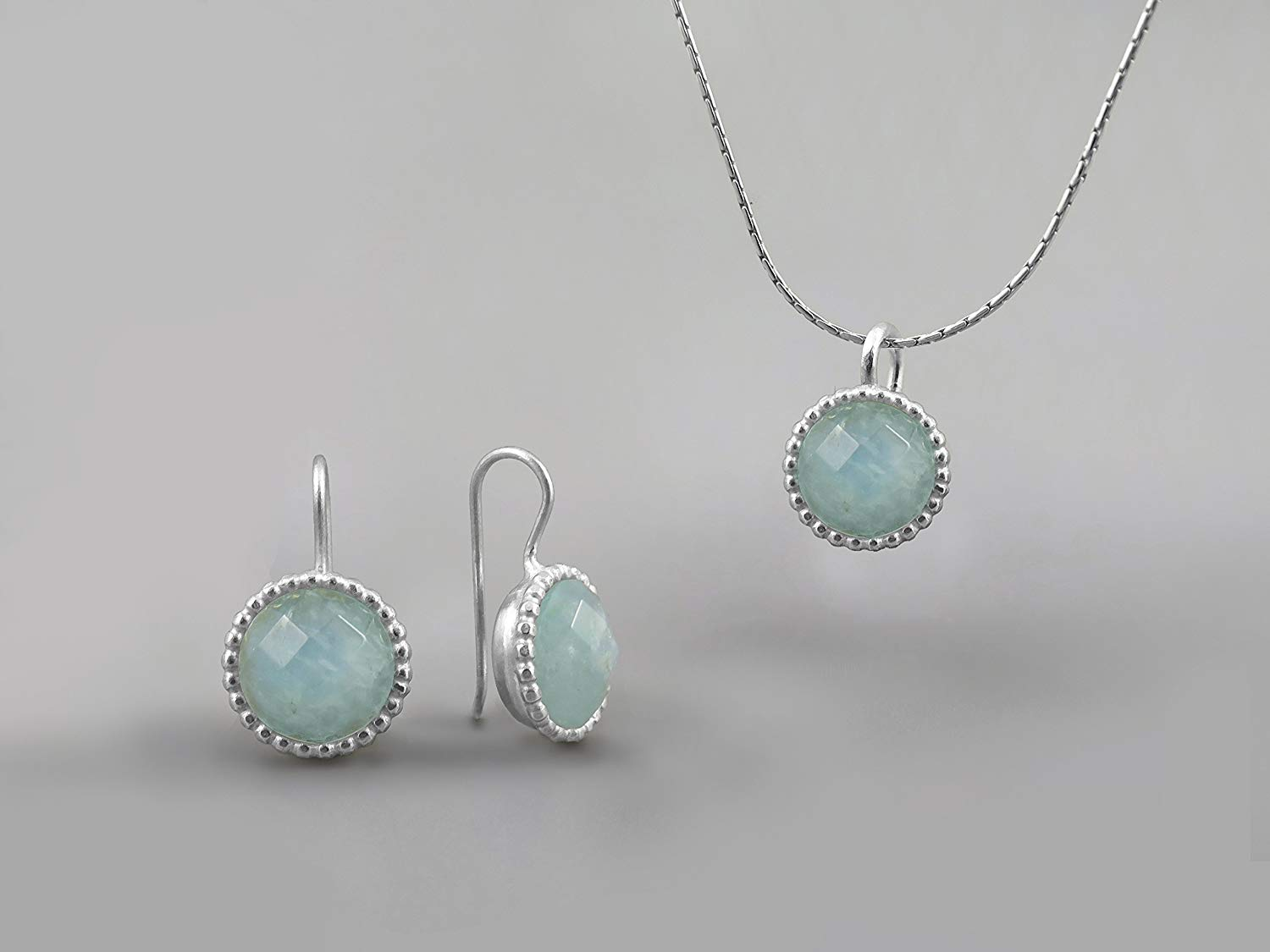 10mm Blue Green Aquamarine Gemstone Round Jewelry Set For Women .925 Sterling Silver March Birthstone Jewelry Aquamarine Necklace Pendant Earring Set Elegant Gift for Women Aquamarine Jewelry For Wife