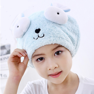 Cute Animal Embroidery Bath Towel Hair Dry Hat Strong Absorbing Drying Shower Cap Long - Velvet Soft Children Dry Hair Cap Towel
