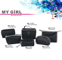 MY GIRL top quality Latest designer Polyester clothing Polka Dot large cosmetic bags glitter,clear cosmetic pvc bag