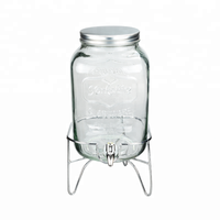 2 Gallon 8L glass mason jar gallon glass beverage dispenser with stand and lid glass jar
