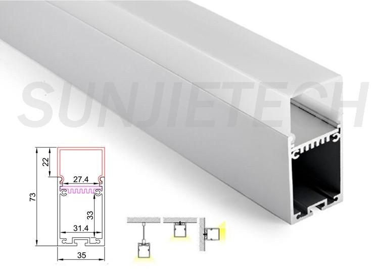 Square Aluminum Led Profile Housing For Led Pendant Light