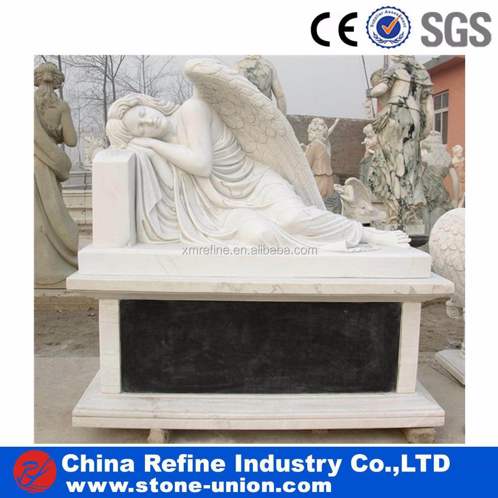 Natural White Marble Sleeping Angel Monument