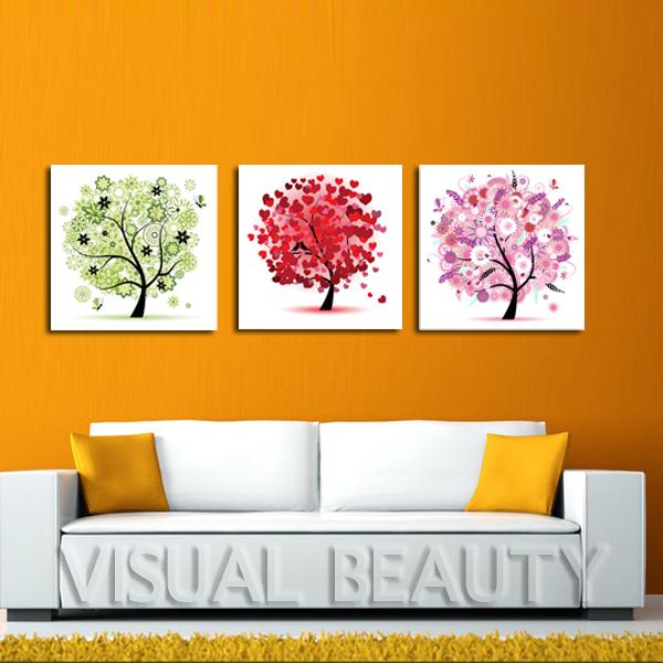 3 Pcs Pohon Abstrak Warna Warni Lukisan Ruang Tamu Dekorasi Dinding Kanvas Seni