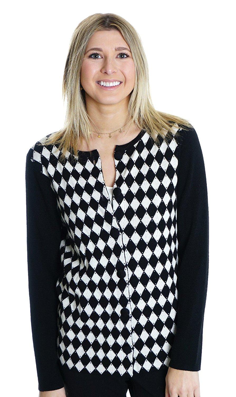 Get Quotations · Pendleton Petite Women s Argyle Merino Wool Cardigan in  Black White 3854a11f0