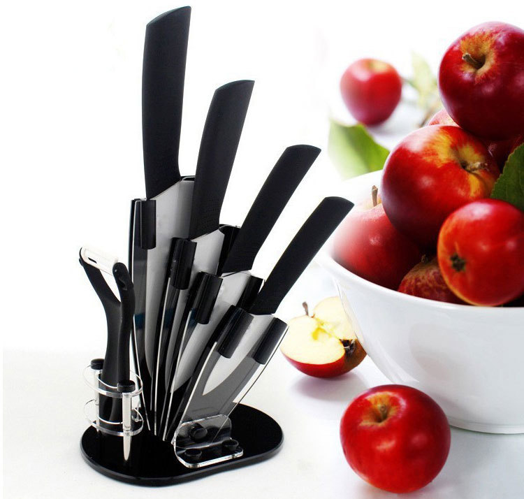 "Free shipping hot sale Black Blade Ceramic Knife Set Chef Kitchen Knives 3"" 4"" 5"" 6"" + Peeler + Holder"