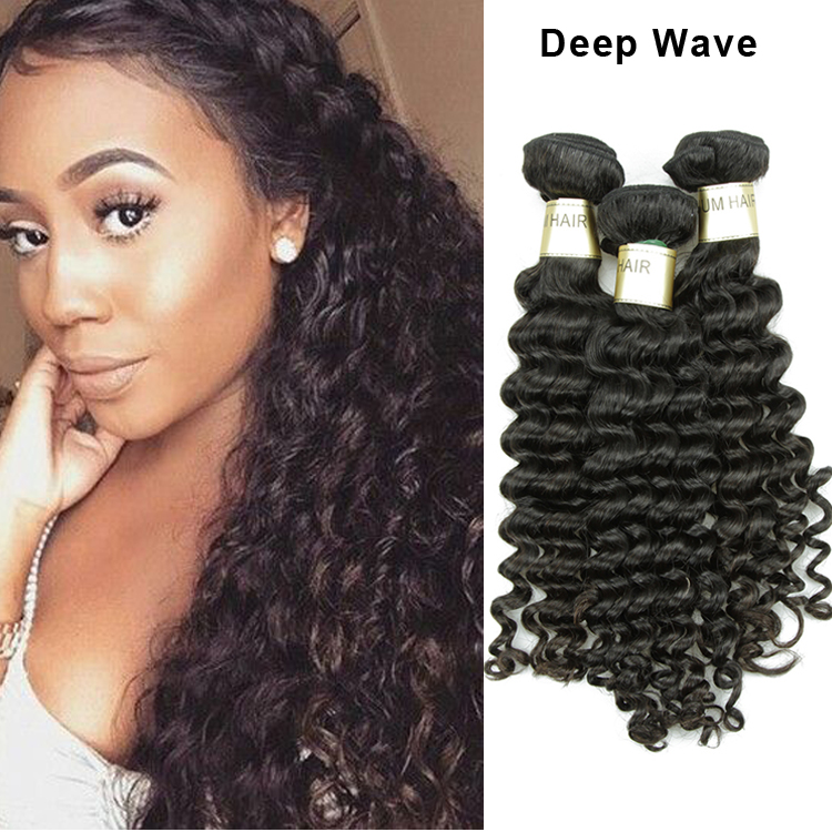 Fast <strong>delivery</strong> 2 days USA 3pcs/set top grade virgin Brazilian deep wave hair extensions 8a
