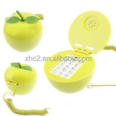 online shopping new products Green Apple Shape Wire corded phone