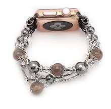 Роскошный браслет-браслет из агата для apple watch band correa apple watch 44 мм 40 мм 42 мм 38 мм iwatch series 5 4 3 2(Китай)