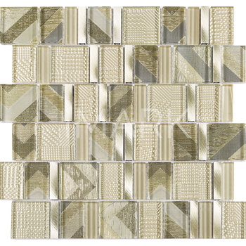 Decorative Gold Color Foiled Glass Mix Brushed Aluminium Mosaic Tile For  Kitchen Wall Backsplash U0026 Floor Decor   Buy Glass Mosaic,Decorative ...