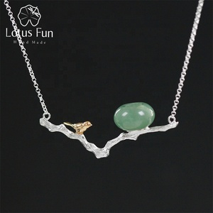 925 Sterling Silver Natural Aventurine & White Jade Retray Bird Stone Necklace Pendant For Women Jewelry Wholesale