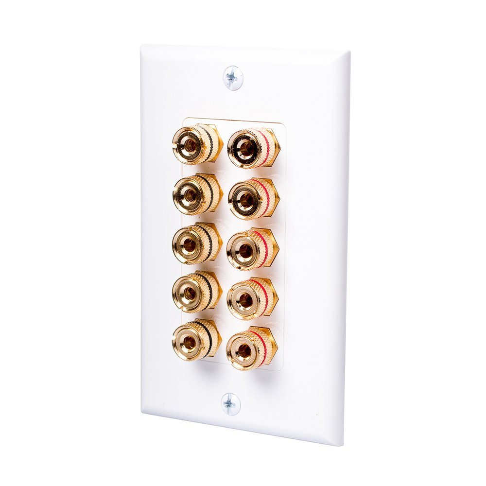 HONGYE Home Theater Speaker Wall Plate with 5 Pairs Gold Plated Copper Banana Jacks for Home Theater/Stereo Audio/TV(White)