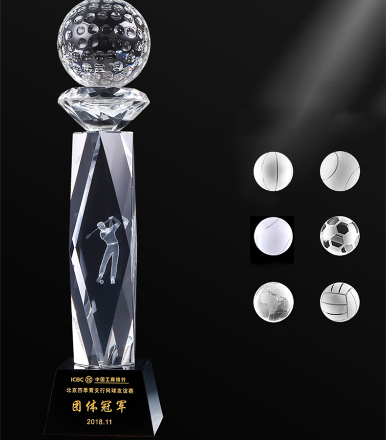 Polished award crystal golf trophy, unique high quality golf trophies
