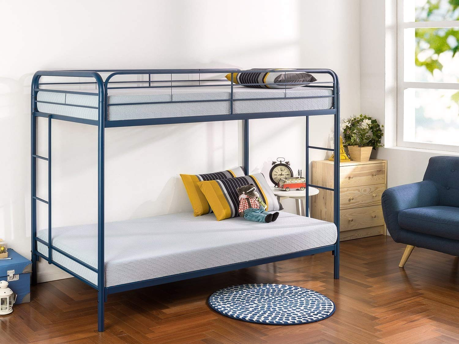 Bunk Beds for Kids Toddler Twin Over Full Steel Navy Your Child Will Sleep in Style and Great Solution for Your Space Saving Needs by HomeTeks