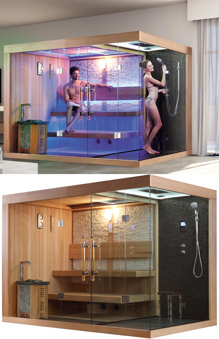 HS SR1388 Sauna With Steam Shower/ Family Sauna Bath/ Wood Sauna Room