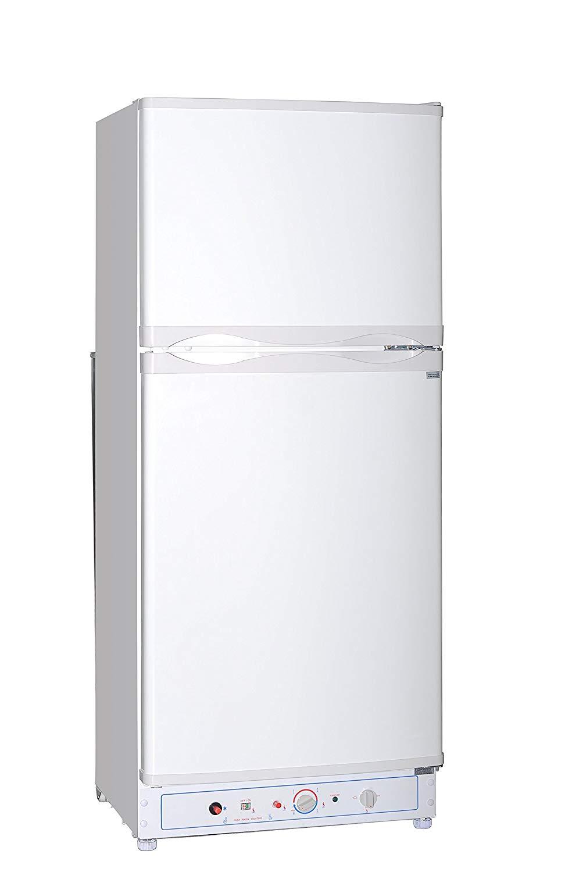 SMETA Gas Electric Refrigerator with Top-freezer Propane/110v 2-way 2 Door Absorption Fridge,White