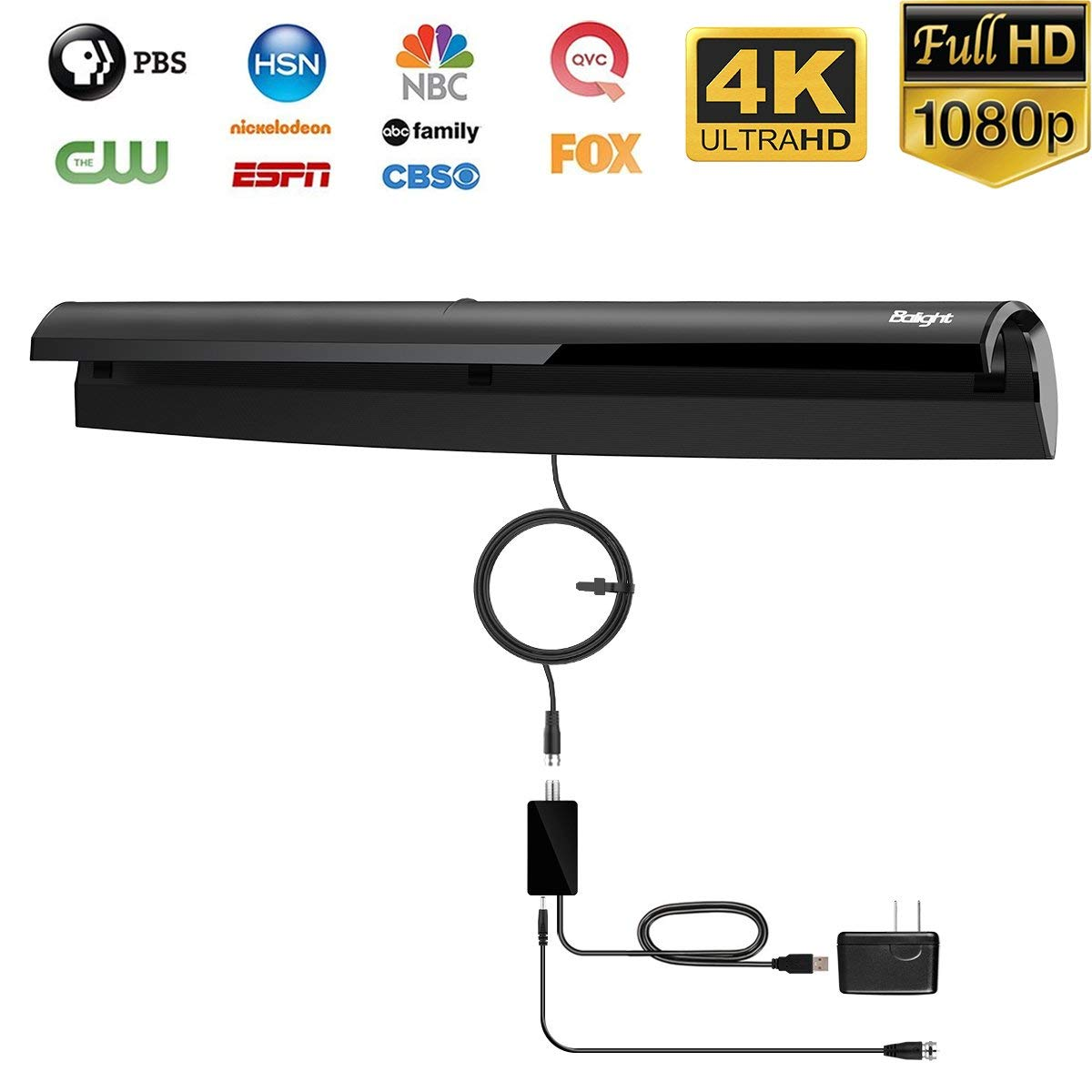 Indoor Digital HDTV Antenna, Balight Amplified TV Antenna Upgrated With 50-80 Miles Range, 1080P HD VHF UHF Free Channel Broadcast 10FT Coax Cable