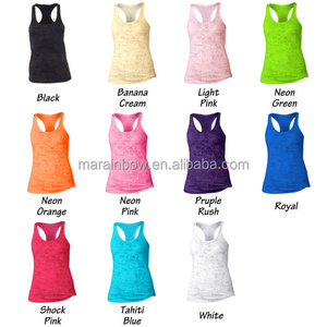 Poly-Cotton Black Burnout Tank Tops for Women Custom Printed Loose Fit Racerback Tank Top Workout Top Gym Singlet Bulk Wholesale