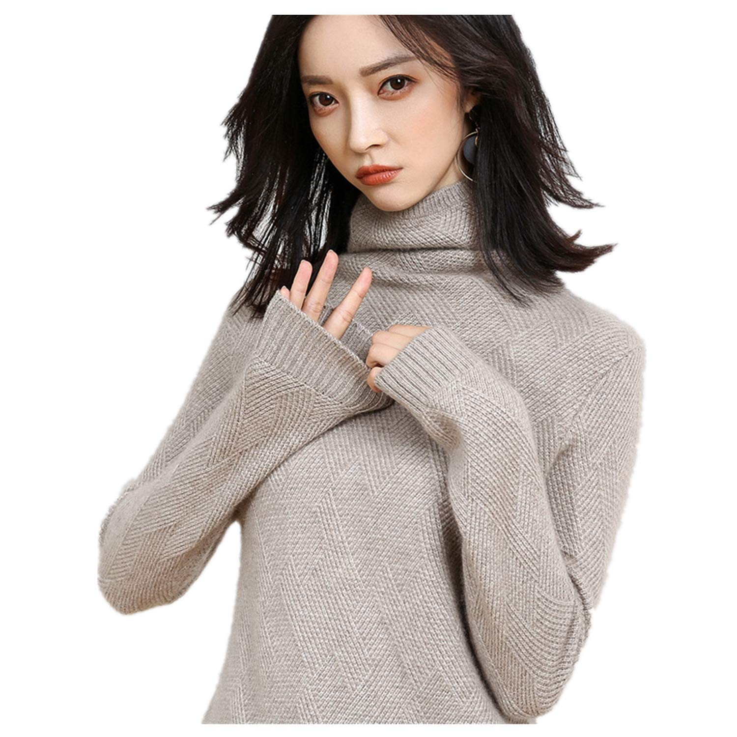 Get Quotations · DILLY FASHION Ladies Knit Cashmere Sweater Turtleneck  Pullover Sweater Tops 117905934