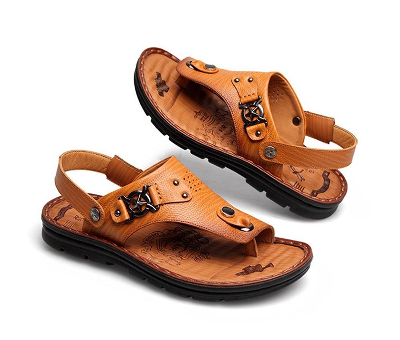 70e36b142755 Get Quotations · Mubeuo Men s Leather Beach Hiking Sandles Walking Sandals
