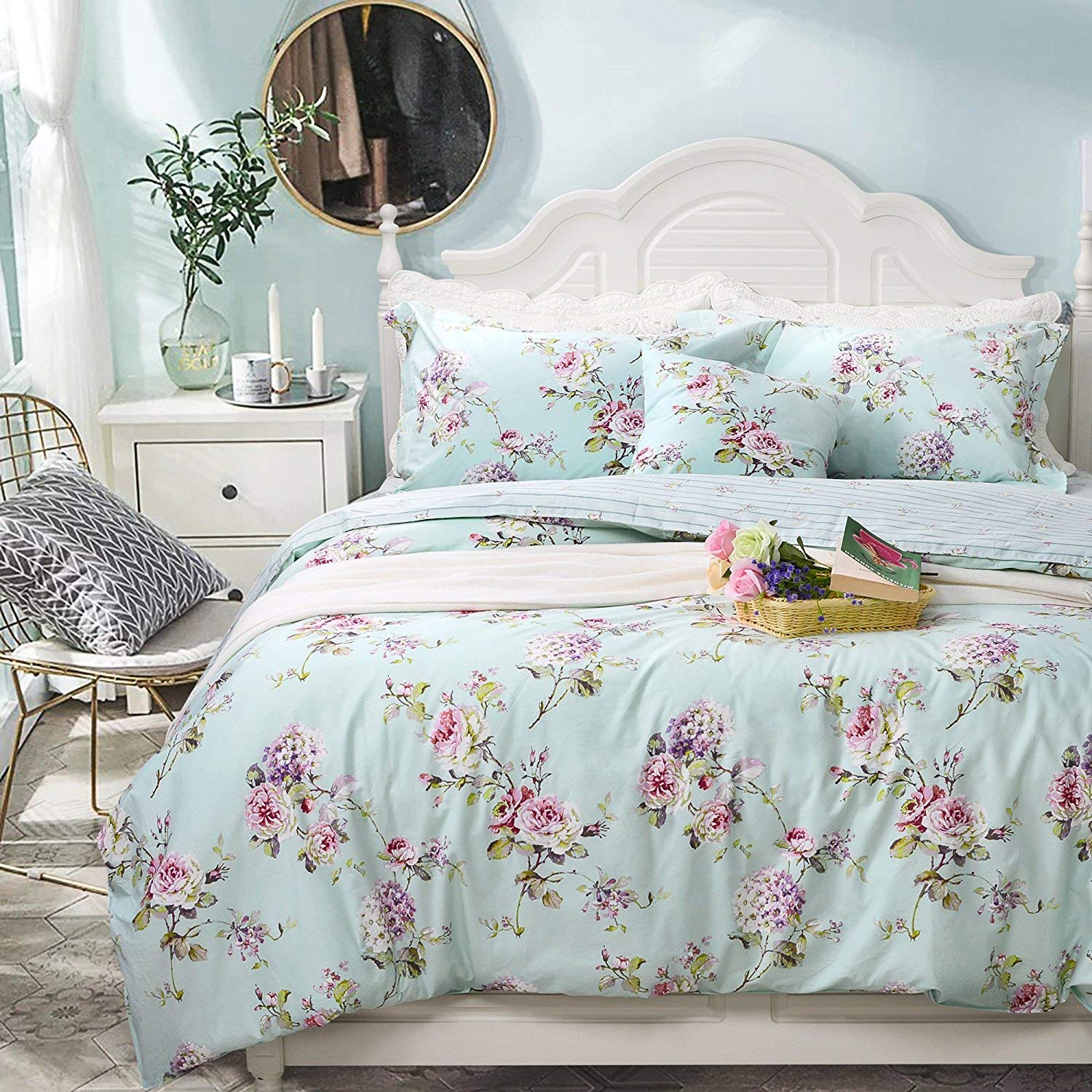 FADFAY Elegant Shabby Hydrangea Fashionable Floral Bedding Set Duvet Cover Sheet Set 7 Pieces 100% Soft Cotton Hypoallergenic,1 Duvet Cover 1 Fitted Sheet 1 Flat Sheet 4 Pillow sham,King Size 7-Pieces