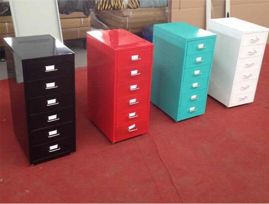 6 Drawer Helmer Office Under Desk Small Drawer Steel Storage Cabinet With  Wheels
