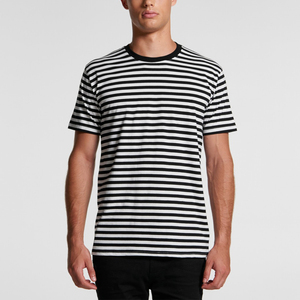 New casual fashion short sleeve black and White Stripe custom mens Classic stripe tee