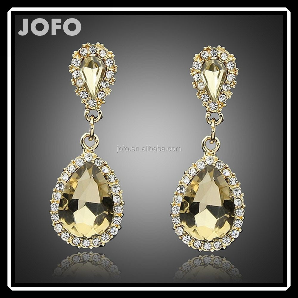 New Korea Design Shiny Crystal Stones Dangle Earrings Jewelry In China