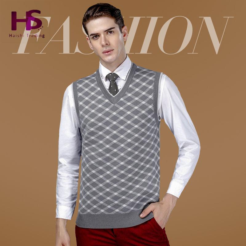 Осень зима кашемир свитер мужчины бизнес ромбы майка мужские свитера с v-образным вырезом шерсть пуловер