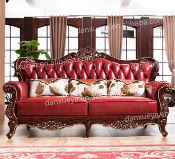 European Classic Wood Genuine Leather Living Room Furniture Sofa Set