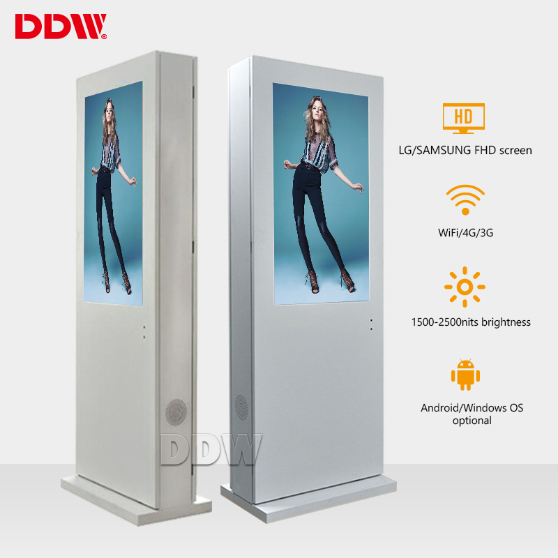 Chinese Manufacturer outdoor lcd ip55 monitor with air-conditioner kiosk 55inch floor standing led display screen mobile wheels
