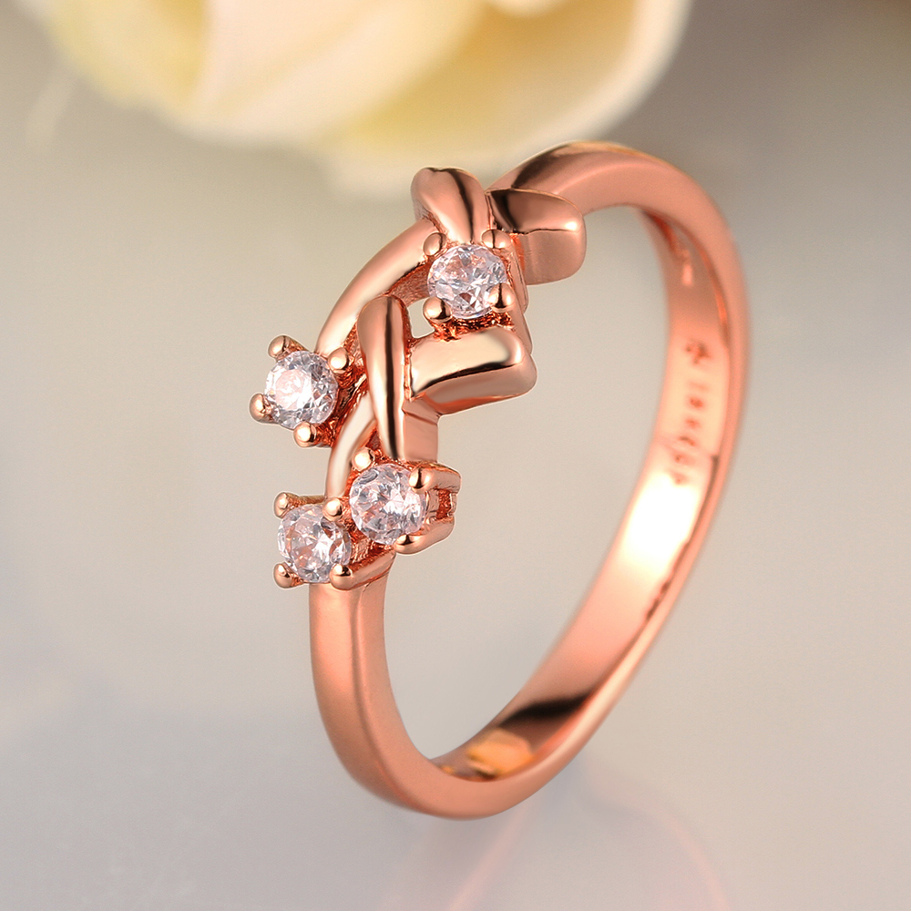 Trendy Simple Gold Rings Designs For Ladies 4 Zircon Stone Rose ...