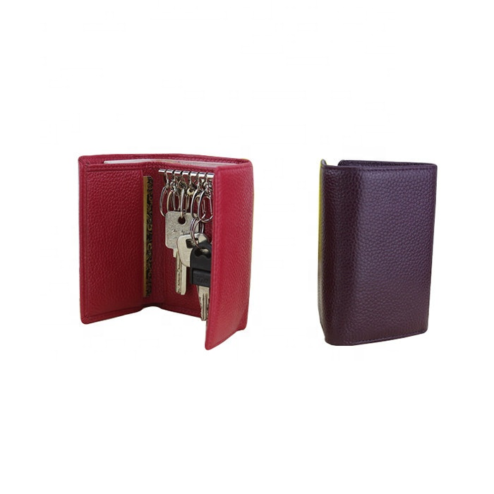 Short Style Ladies Cowhide Leather Key Wallet With Key Rings Multifunction 3 Folds Leather Key Holder Wallet