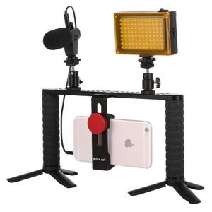 OEM PULUZ 4 in 1 YouTube Vlogging Live Broadcast Smartphone Video Rig Handle Filmmaking Recording Stabilizer Aluminum Bracket Ki