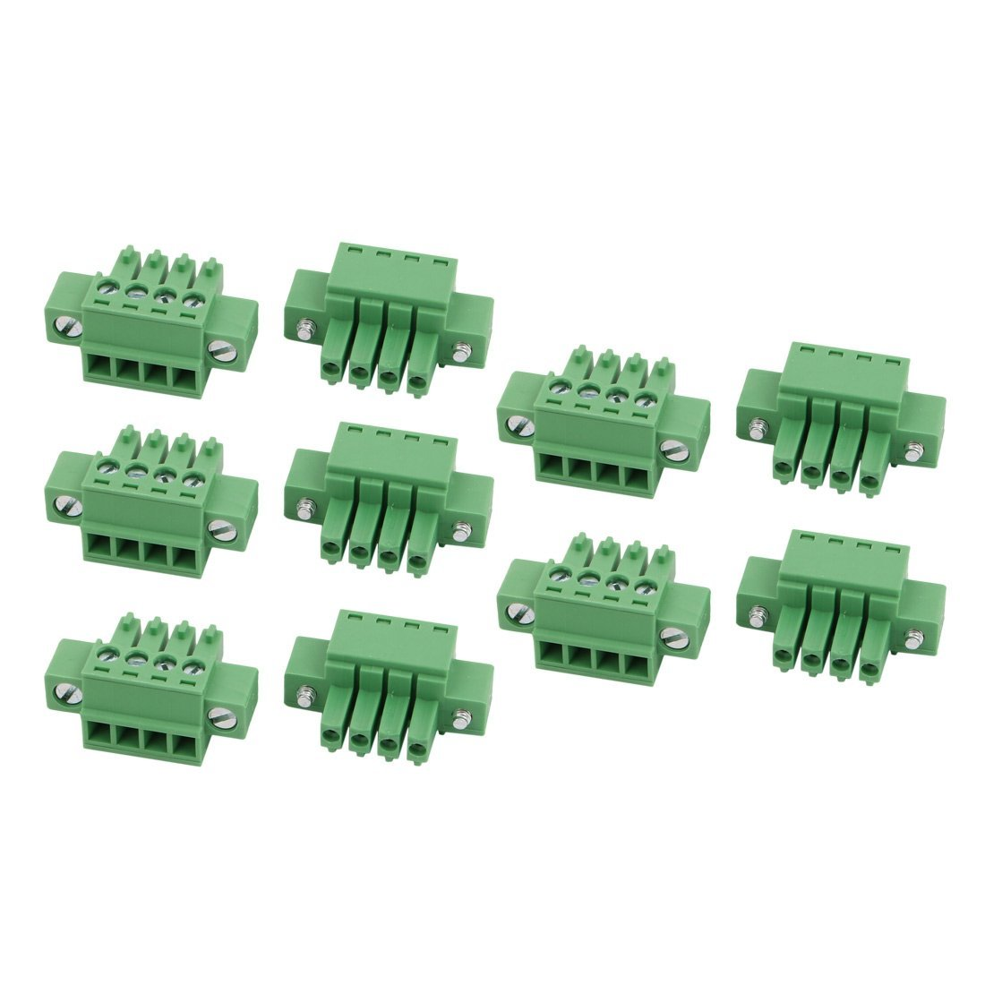 uxcell 10 Pcs LC1M AC300V 8A 3.5mm Pitch 4P PCB Mount Terminal Block Wire Connector