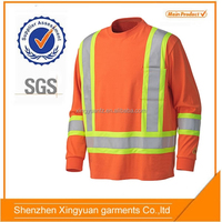 100%cotton Orange Long Sleeve safety Work T shirt with Reflective tapes