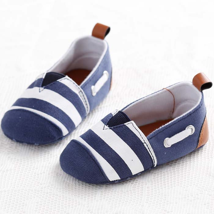 match striped cloth-soled toddler shoes
