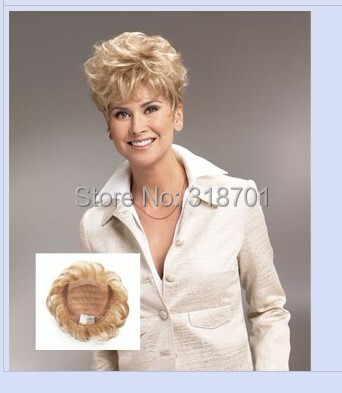 Toupee  Womens Synthetic hair short Toupe Lovely Hair Extensions blonde Color free shipping