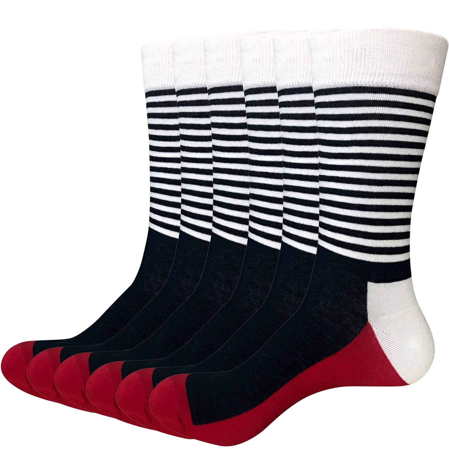 Areke Mens Cotton Blend Stripe Colorful Patterned Athletic Crew Socks, Seamless Sport Casual Soxs 6 Pairs