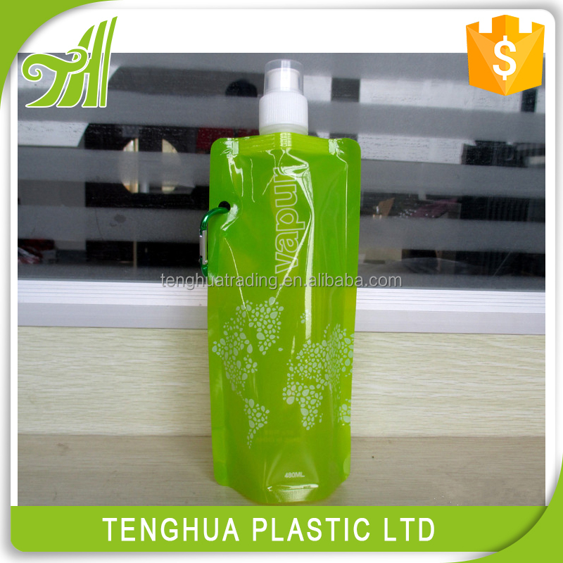 Colorful function foldable plastic pvc shaker water bottle
