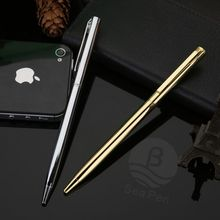 China Wholesale Good Bussiness Gift Gold and Silver Color Metal Ball Pen with Printing Logo