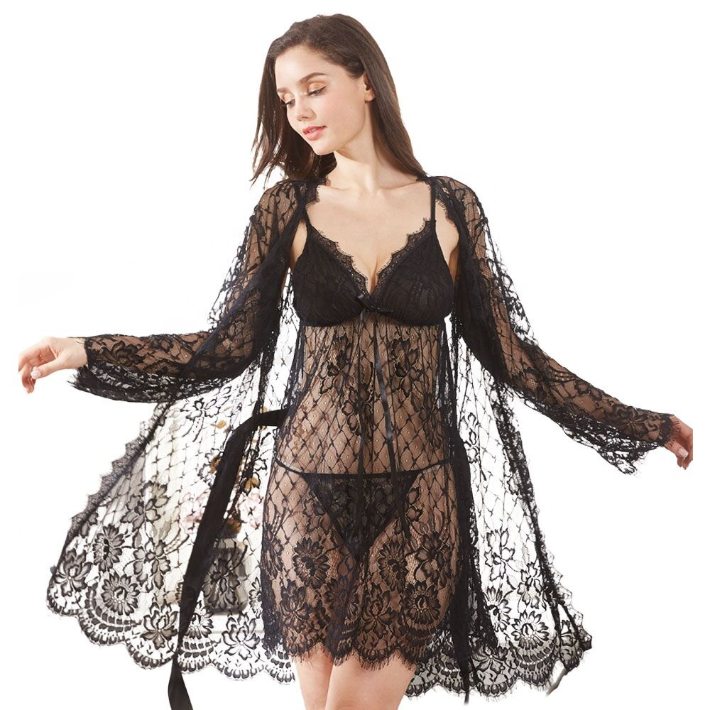 Transparent Lingerie Nude Lace Kimonos Robe Night Wear Sexy Women With Thong Sexy Spicy Lingerie Babydoll