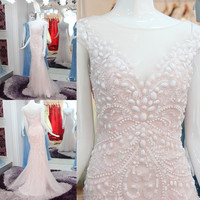 RP50097 100% Real sample mermaid pearls beads evening gown lace tulle evening dress birthday party dress hot pink casual dress
