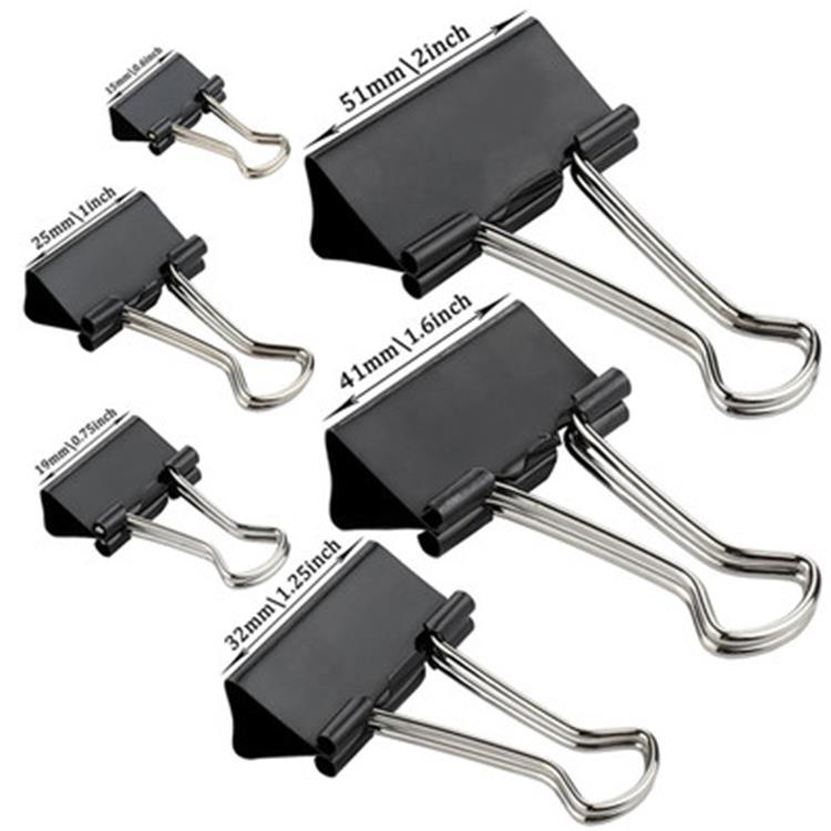Amazon hot koop china fabrikanten stationaire items kantoor school zwart papier clip metalen papier binder clips in Yiwu