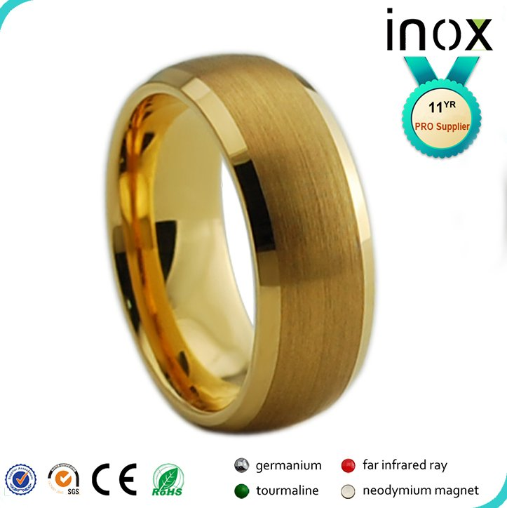 Inox manufacturer tungsten carbide 24k plated men's gold ring