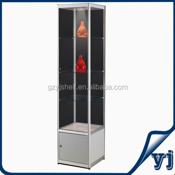 Wall Mount Glass Corner Display Cabinet Commercial,Square Sliding Glass  Door Hardware Display Cabinet/