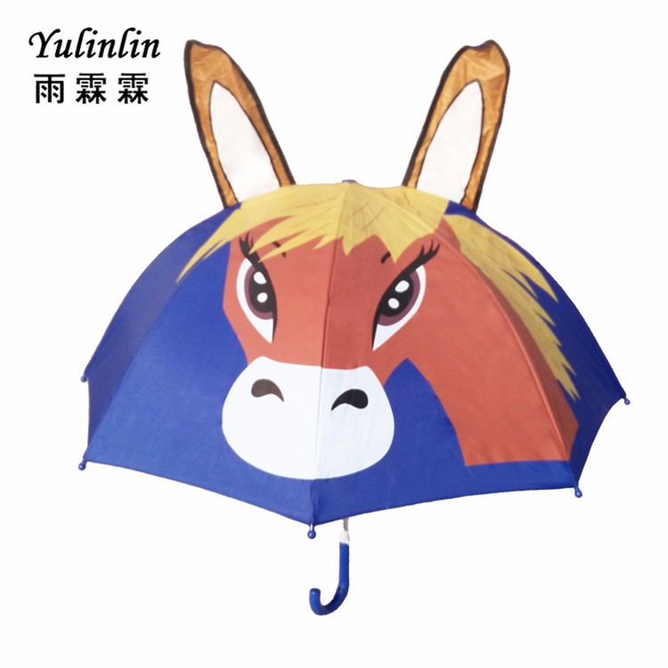Blue horse Beautiful heat transfer printing kids umbrella,custom design children umbrellagood gift for kids