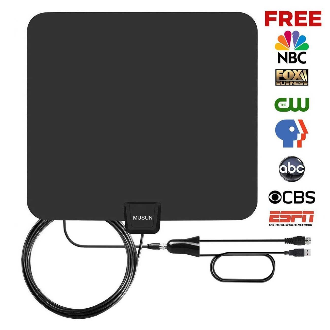 TV Antenna,Indoor Amplified HDTV Antenna 50+ Mile Range with Detachable Amplifier Signal Booster, USB Power Supply and 13.5FT High Performance Coax Cable - Upgraded Version Better Reception