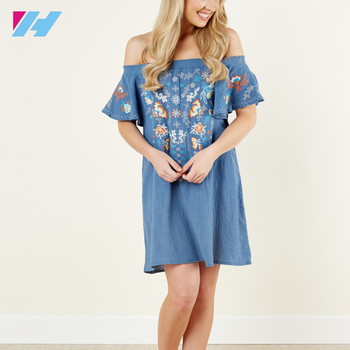 ce89da2f7bab Hot summer dress women ladys Cutie Denim Blue Embroidered Off The Shoulder  big size casual Dress