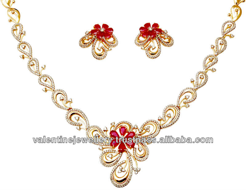 African Ruby Gold Jewelery Ruby Necklace Stone Designs 18k Gold